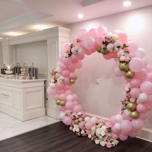 Pink & gold balloon hoop