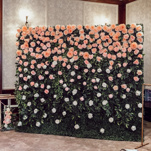 Waterfall flower wall   Size - 2.5m wide & 2.2m tall