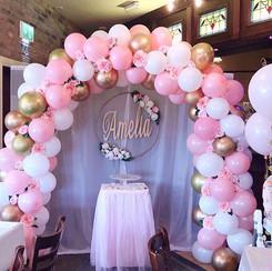 Pink Christening arch
