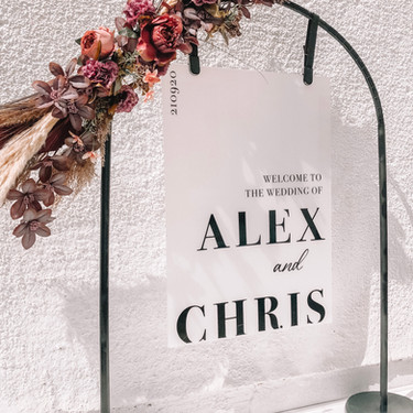 Personalised welcome sign with black frame and florals