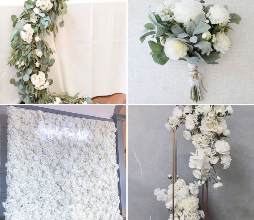 The Floral Package What's inlcuded:  *Flower wall  *Table centre pieces (x10) *Floral top table runner  *3 bouquet & 3 buttonholes