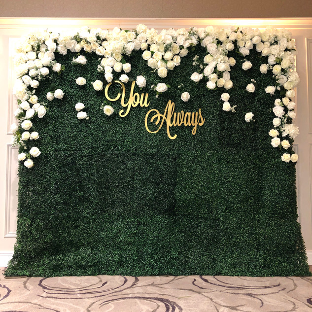 Flower wall with personlised signage   Size - 2.5m wide & 2.2m tall