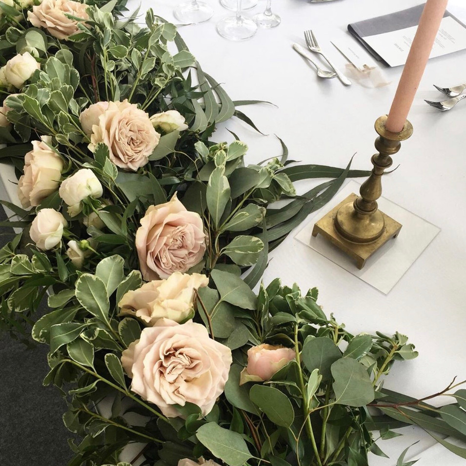 Close up floral table runner