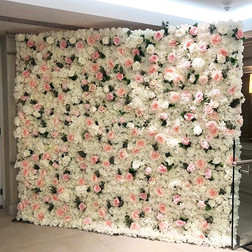 White flower wall with pink and green florals   Size 2.5m wide & 2.2m tall