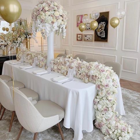 Full white floral table runner
