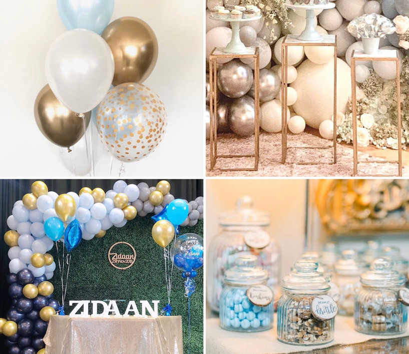The blue Party Package What's included:   *Backdrop  *Balloon bundles  *Sweet treats  *Cake tables