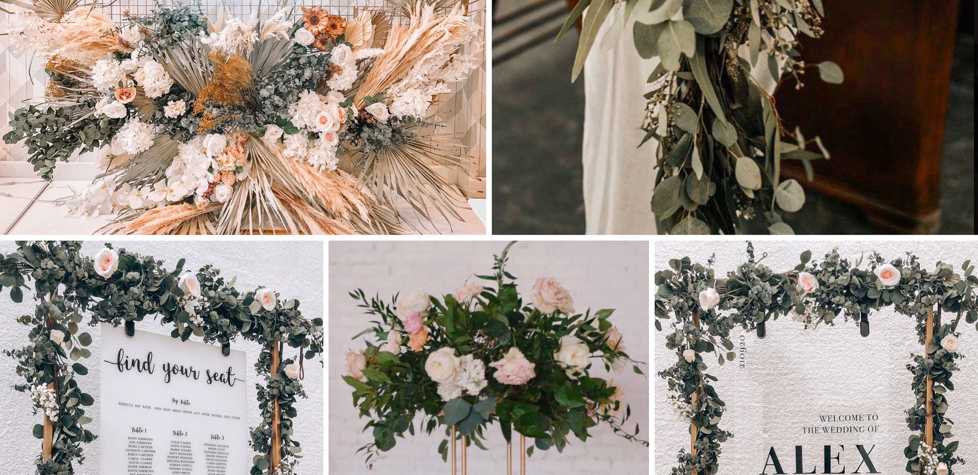 The Style Package  What's included:  *Backdrop of choice  *Table centre pieces *Floral top table runner *Welcome signage  *Table plan signage   All items are designed bespoke to match your theme