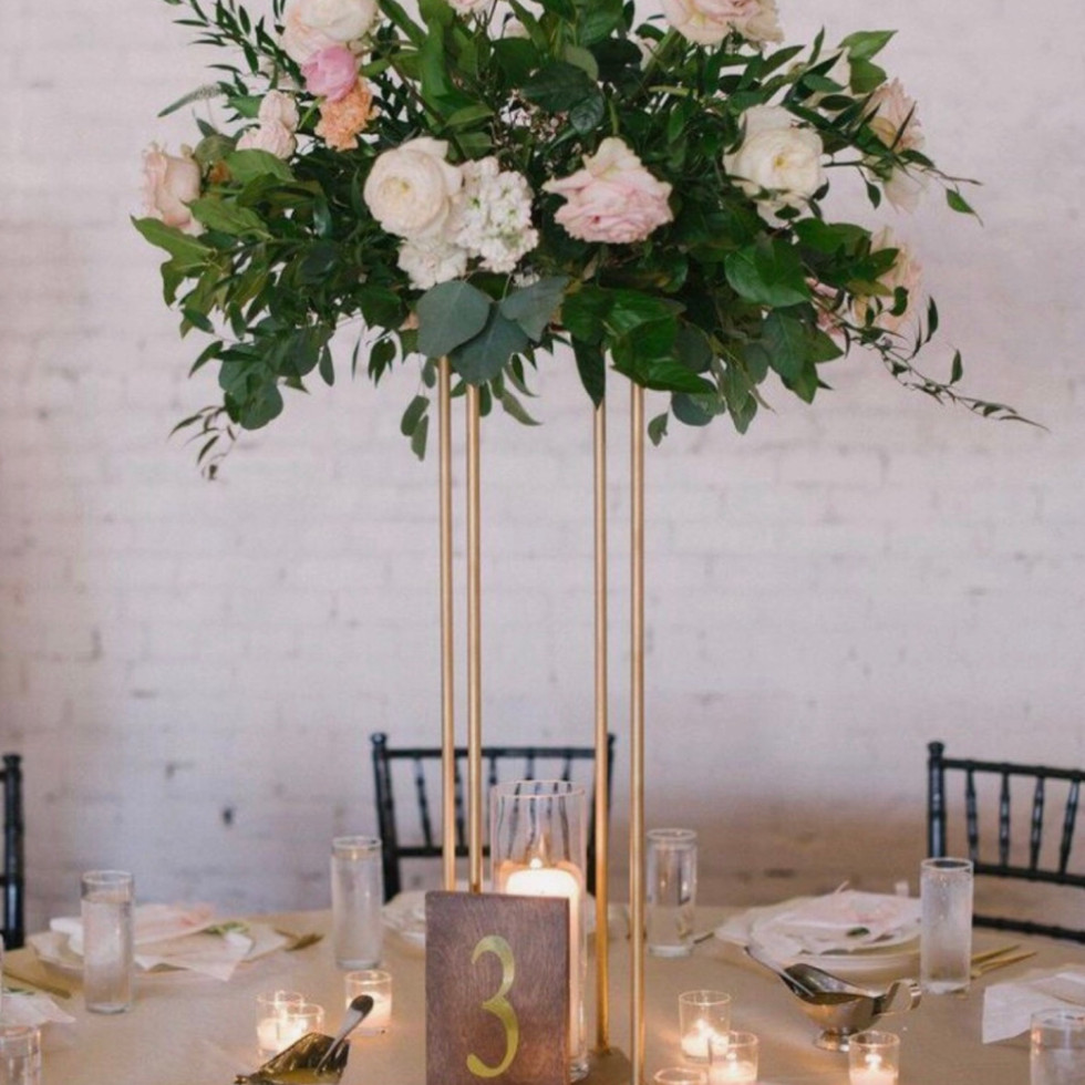 Tall gold centre pieces with floral top   Size - frame 70cm