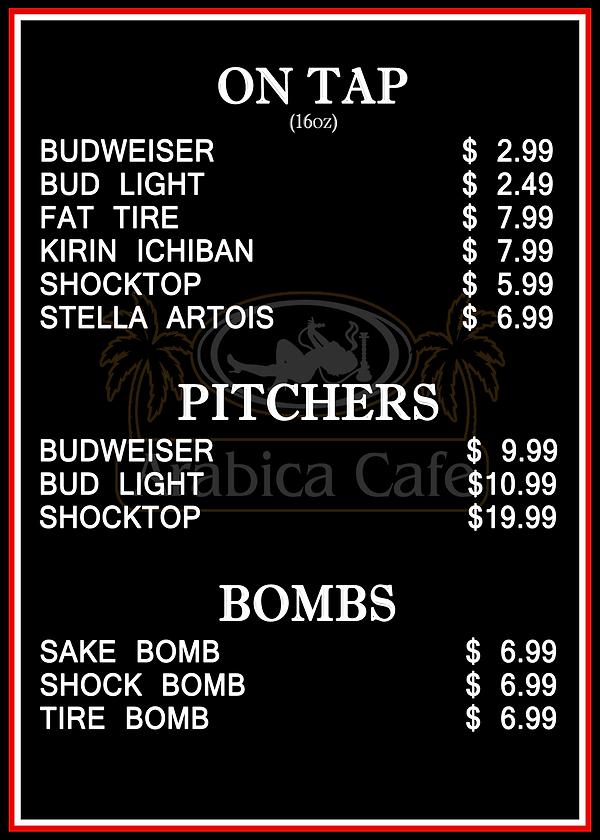 Menu - Beers/Pitchers/Bombs Arabica Cafe Davie Florida