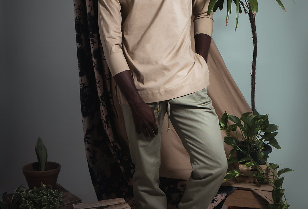 Ladder Cotton Pullover Long
