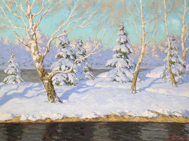 'Winter River Landscape'