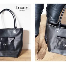 Sac L Cuir grainé rigide anses noir pochette cuir vernis noir