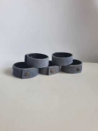 Bracelet cuir uni Gris