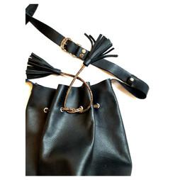 Bucket bag cuir noir grainé