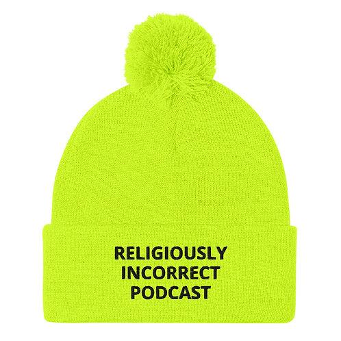 Religiously Incorrect Podcast Pom-Pom Beanie Neon Yellow