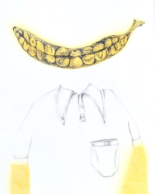 Levitating Banana Smile Above White Collar