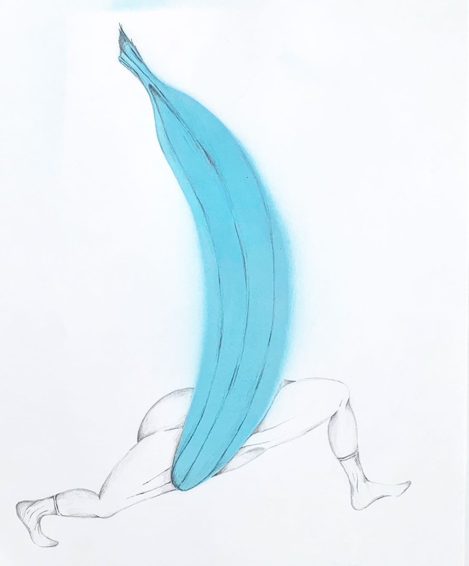 Blue Banana with Running Limbs