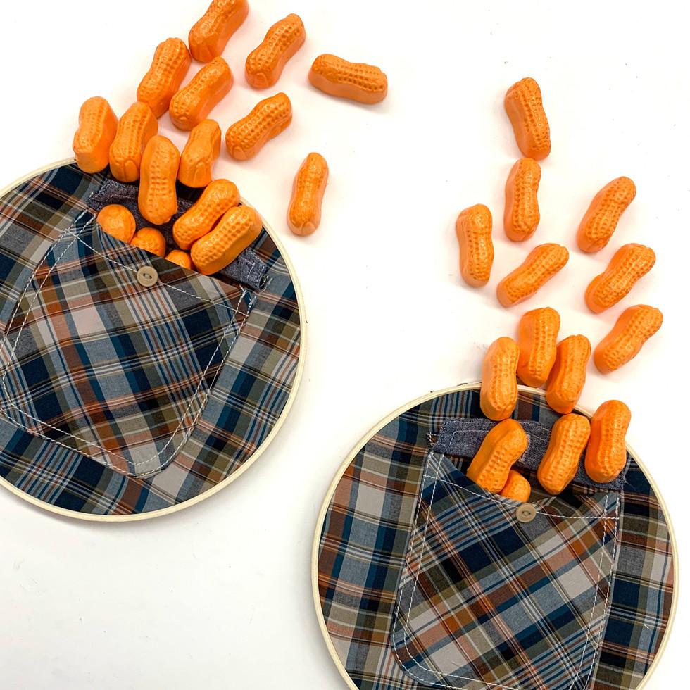 Plaid Pockets on Loops with Orange Circus Peanuts