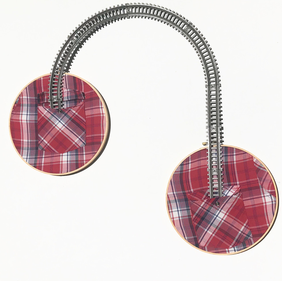 Red Plaid Shirt Pockets on Loops with Traintracks on Loops