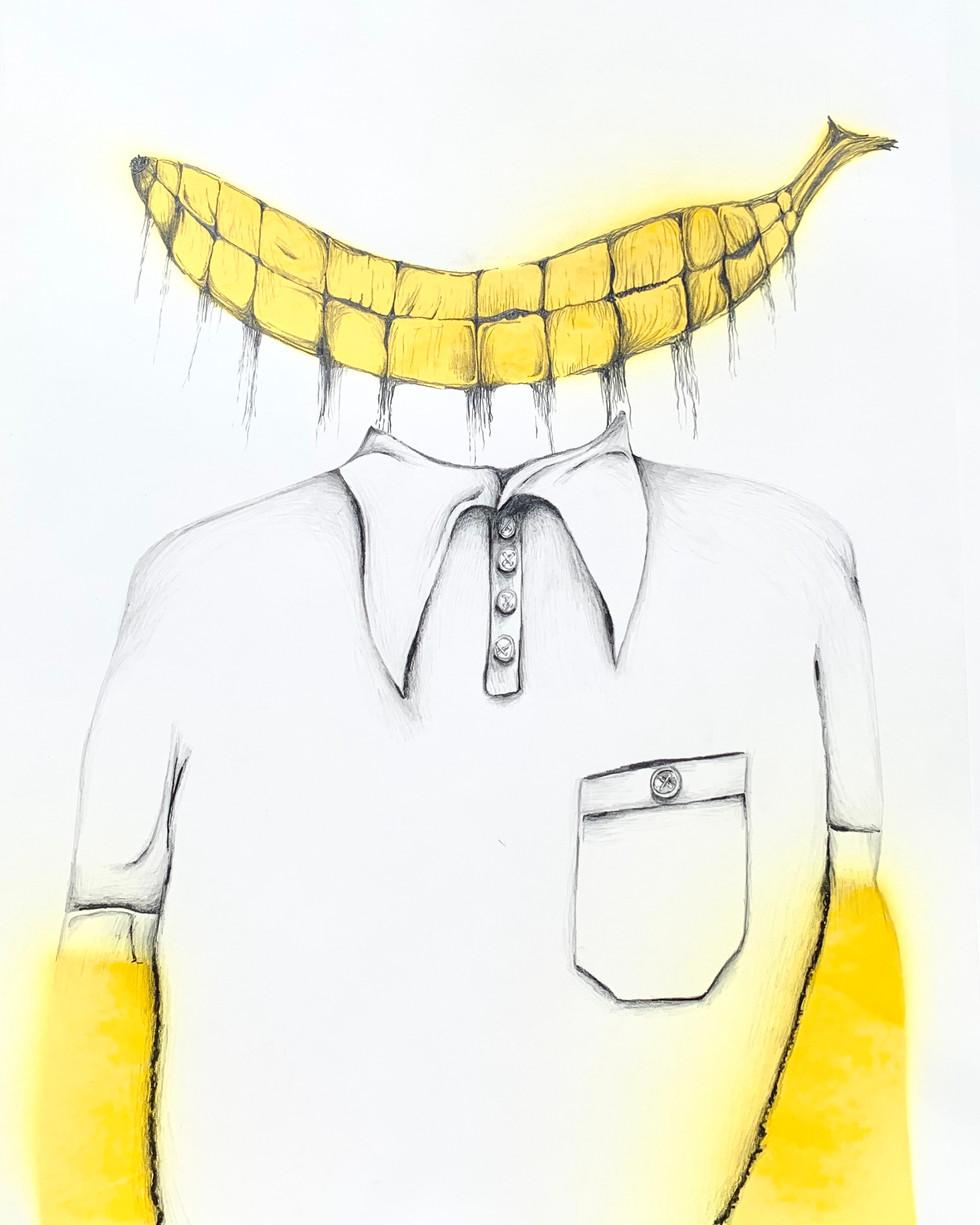 Levitating Banana Smile with Hanging PhloemAvove White Collar