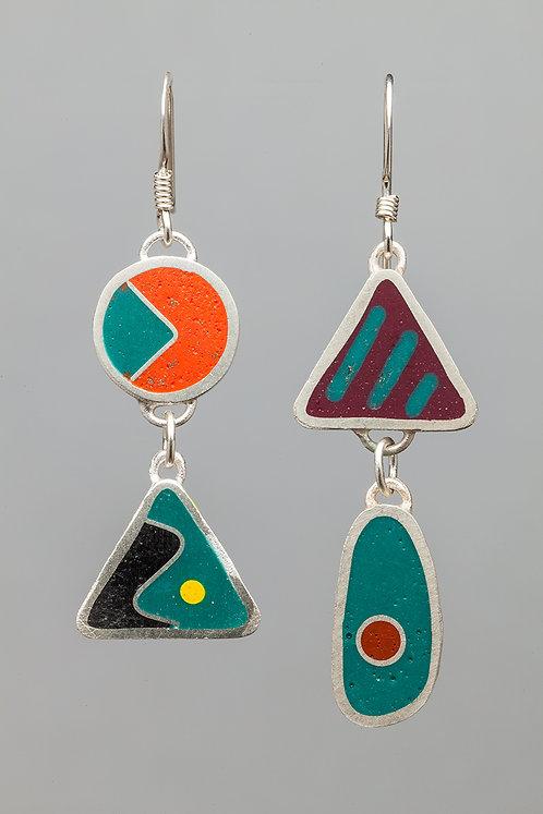 Resin bead earrings, turquoise/orange
