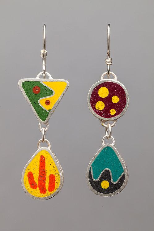 Resin bead earrings, yellow/multi
