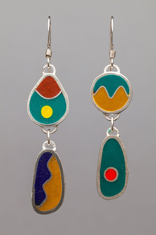 Resin bead earrings, turquoise/sand