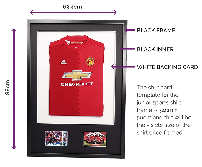 Junior Black 3-D Sport Shirt Frame - With Mount & Pics