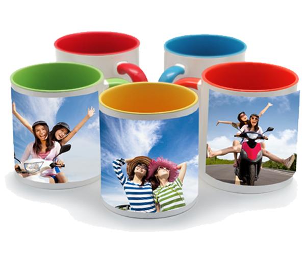 Premium Custom Printed Colour inside & Handle 11oz Mugs