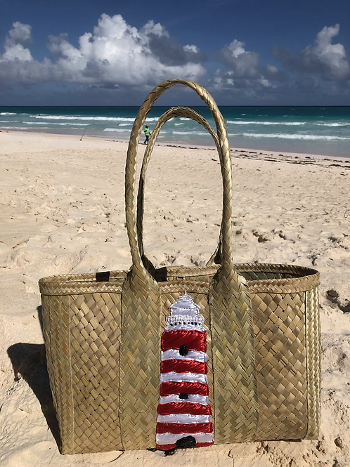 Lighthouse Straw Tote