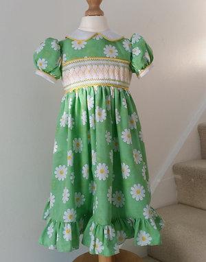 Hand Smocked Daisy Dress, maxi length, 2 - 3 years old