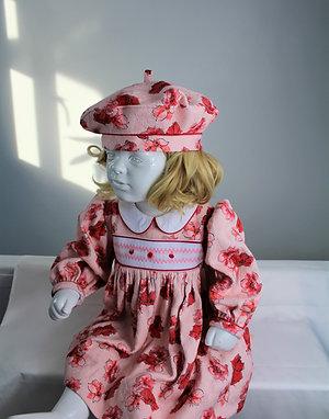 Hand Smocked Brocade Dress & Beret Set, size 18 - 24 months