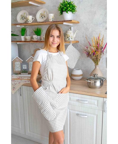 Fartuszek kuchenny Bella szara krateczka