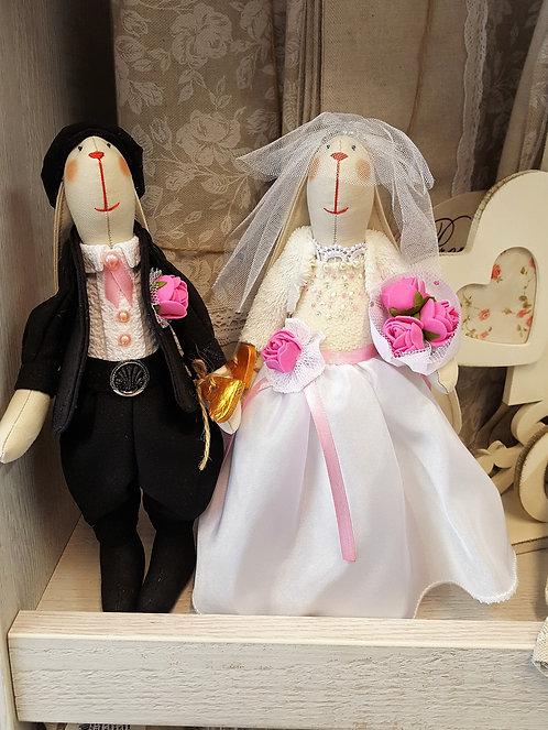 Króliki Ślubne - Idealny prezent dla Pary Młodej zamiast kwiatów!(rękodzieło)