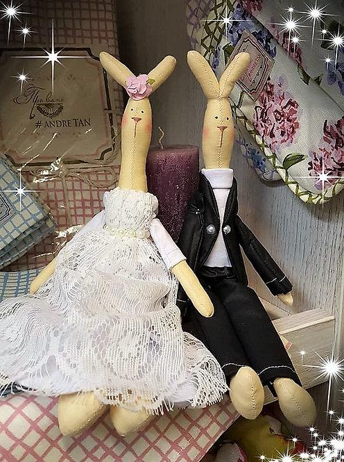 Króliki Ślubne - Idealny prezent dla Pary Młodej zamiast kwiatów!(rękodzie