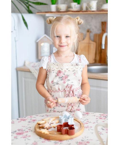 Piękny fartuszek kuchenny dla dzieci Bella róża z koronką