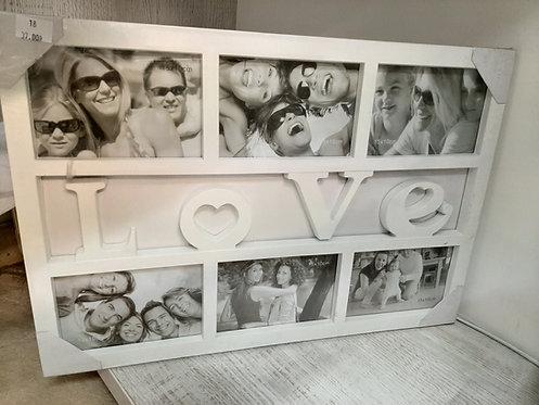 Ramka kolaż na 6 zdjęć LOVE biała