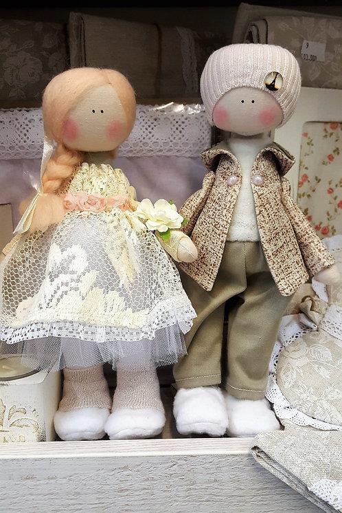 Lalki chłopak i dziewczynka (rękodzieło ręcznie szyte zabawki)