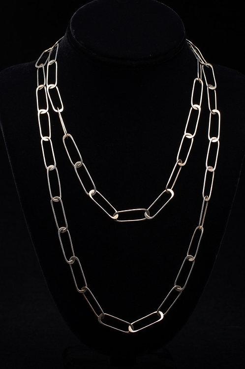 "Silver ""Paper Clip"" Necklace"