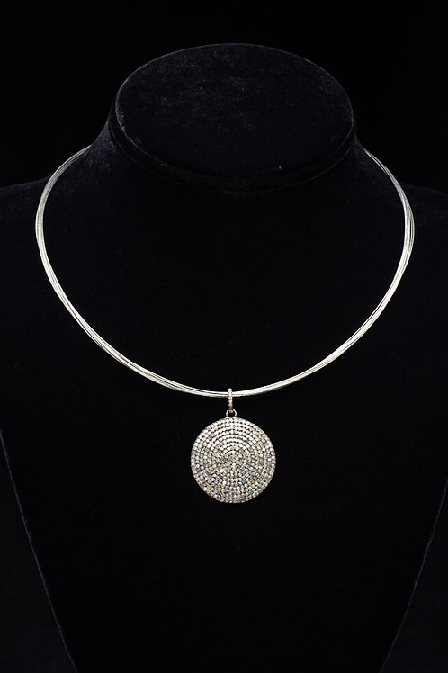 Pave Diamond Disc Necklace