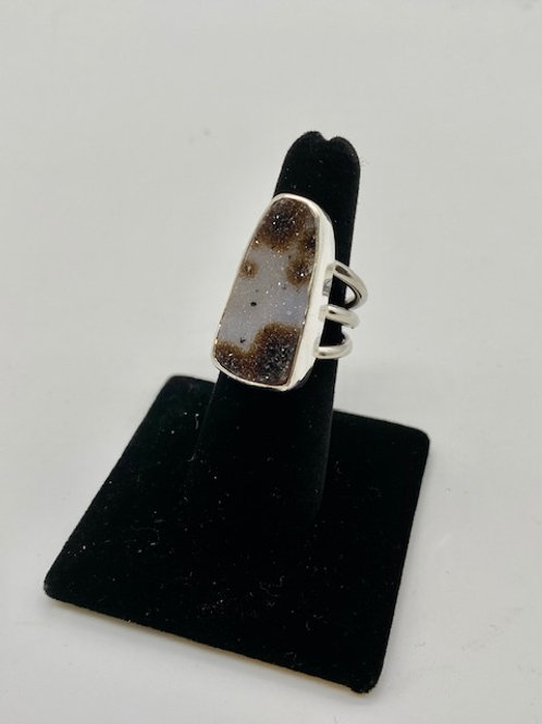 Leopard drusy ring