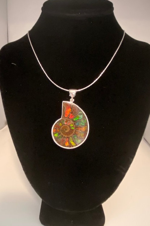 Large Ammolite ammonite necklace