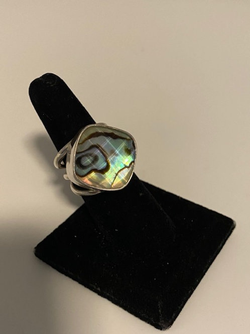 Abalone ring with quartz in sterling silver