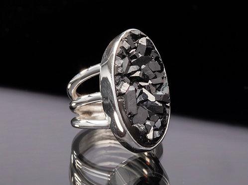 Black Diamond Drusy Quartz ring