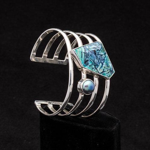 Native Copper and Pearl Cuff Bracelet