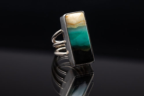 Petrified Opalwood Rectangle Ring