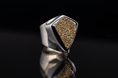 Gold Drusy Silver Ring