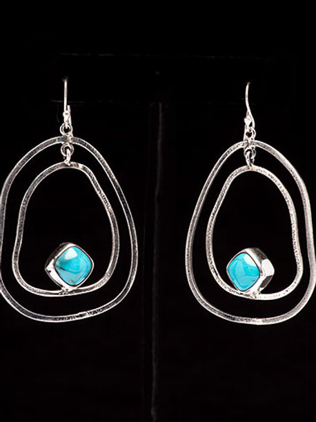 Freeform Turquoise Earrings Sterling Silver