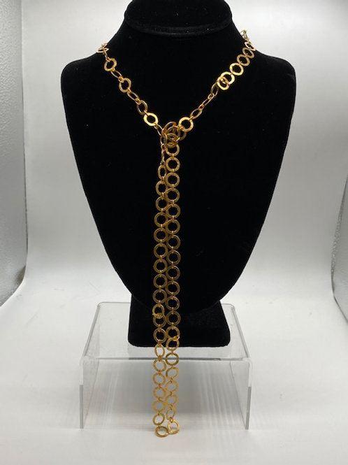 Long gold Lariat necklace