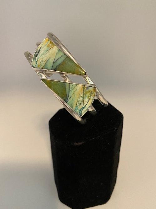 Petrified opal wood cuff bracelet